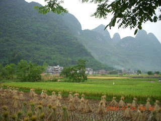 169 6xr. China eclipse - Yangshuo bicycle ride - walk to farm village