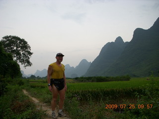 171 6xr. China eclipse - Yangshuo bicycle ride - walk to farm village - Adam