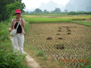 177 6xr. China eclipse - Yangshuo bicycle ride - walk to farm village - Ling