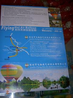 218 6xr. China eclipse - Yangshuo hot-air balloon brochure