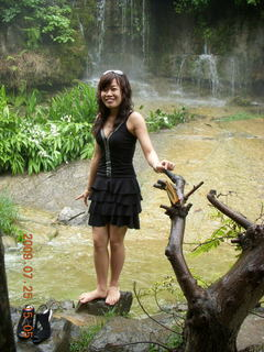 268 6xr. China eclipse - Guilin SevenStar park - waterfall and another tourist