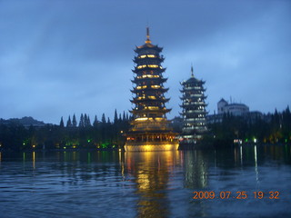 293 6xr. China eclipse - Guilin evening boat tour - sun and moon pagodas