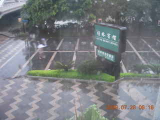 2 6xs. China eclipse - Guilin Bravo Hotel sign in the rain