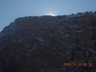 38 72q. Zion National Park - Angels Landing hike - sun about to appear