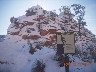 86 72q. Zion National Park - Angels Landing hike - scary sign