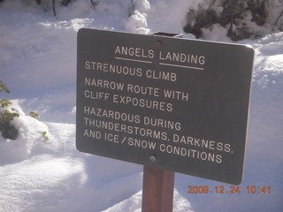 87 72q. Zion National Park - Angels Landing hike - warning sign
