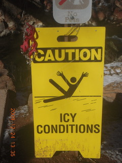 135 72q. Zion National Park - down from Angels Landing - icy sign